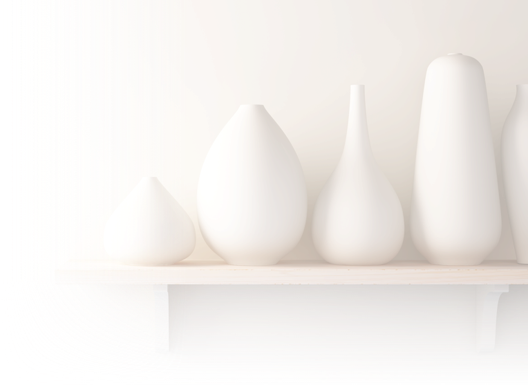Five white vases on a shelf