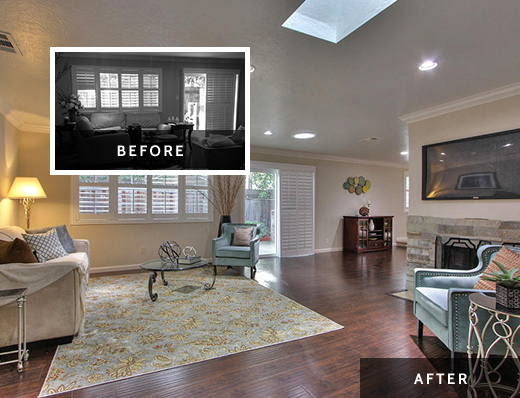 Before and after staging photos